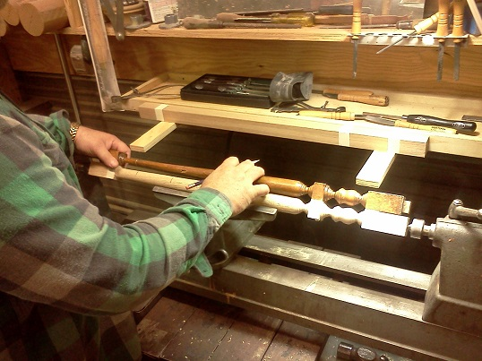 checking the baluster turnings