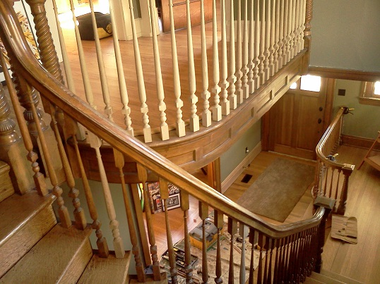 newly installed upper and lower balusters